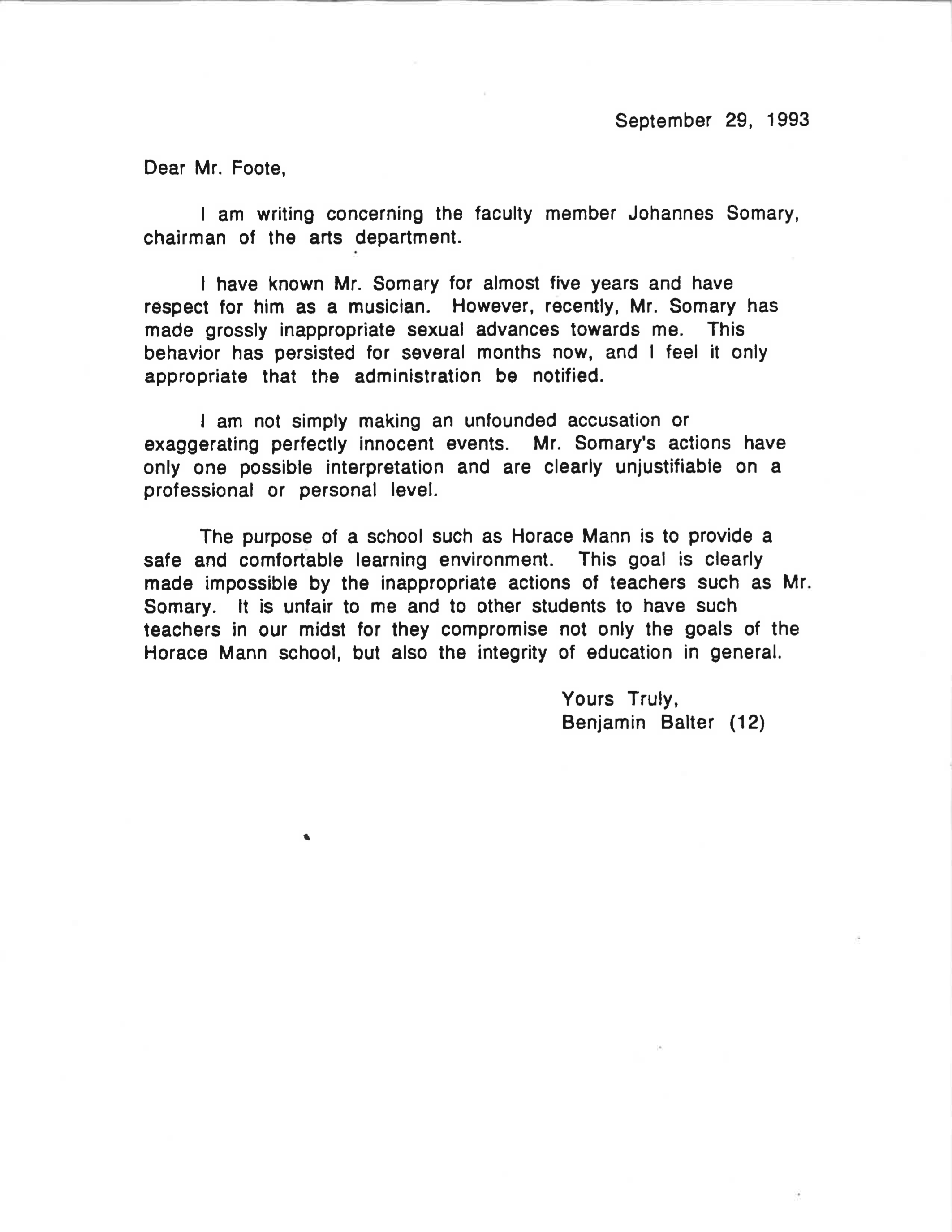 16 Year Old Boys Letter About Teachers Sexual Advances